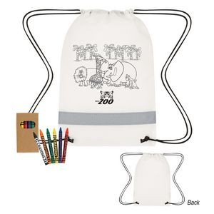Lil' Bit Reflective Non-Woven Coloring Drawstring Bag With Crayons